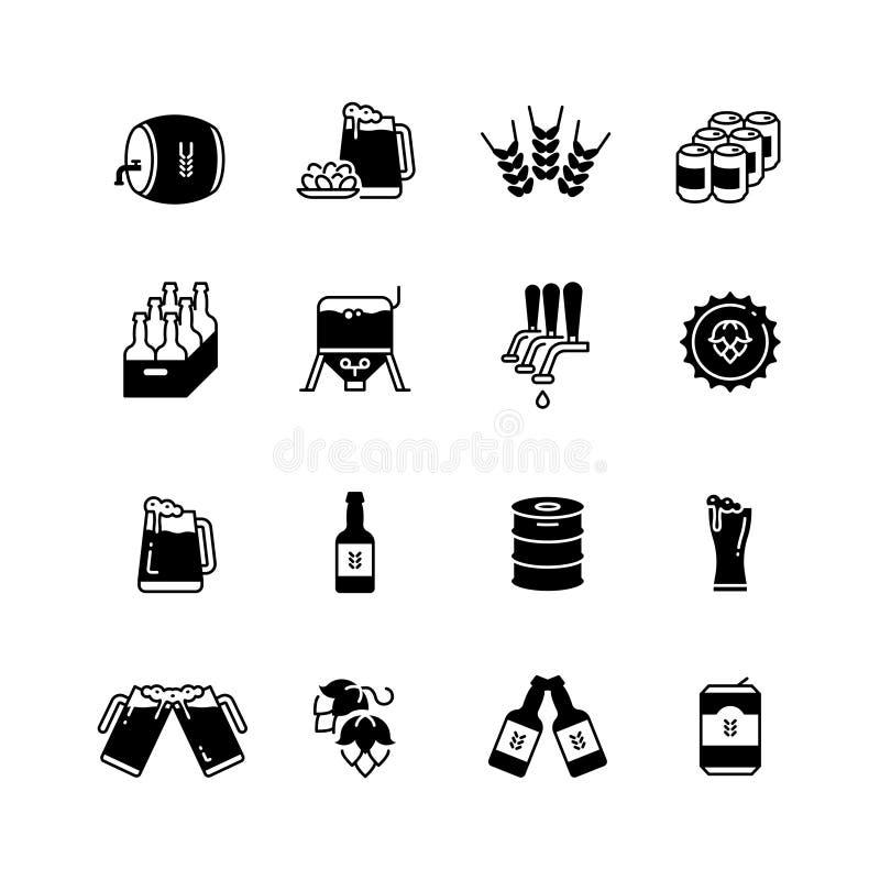 Cerveza y elaborar los iconos del vector fijados Símbolos de la botella y del vidrio de la cervecería stock de ilustración