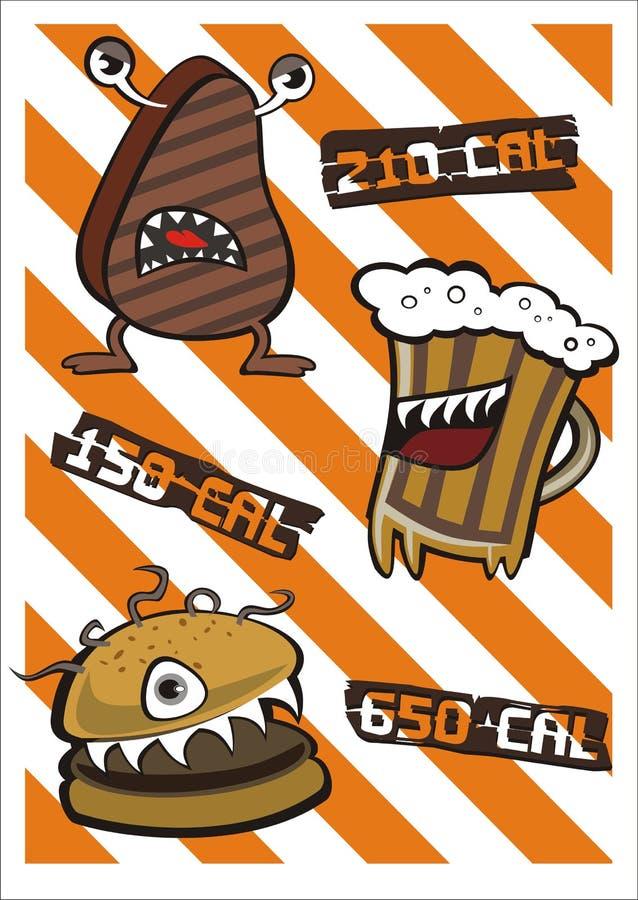 Cerveza y hamburguesa del filete del monstruo con calorías stock de ilustración