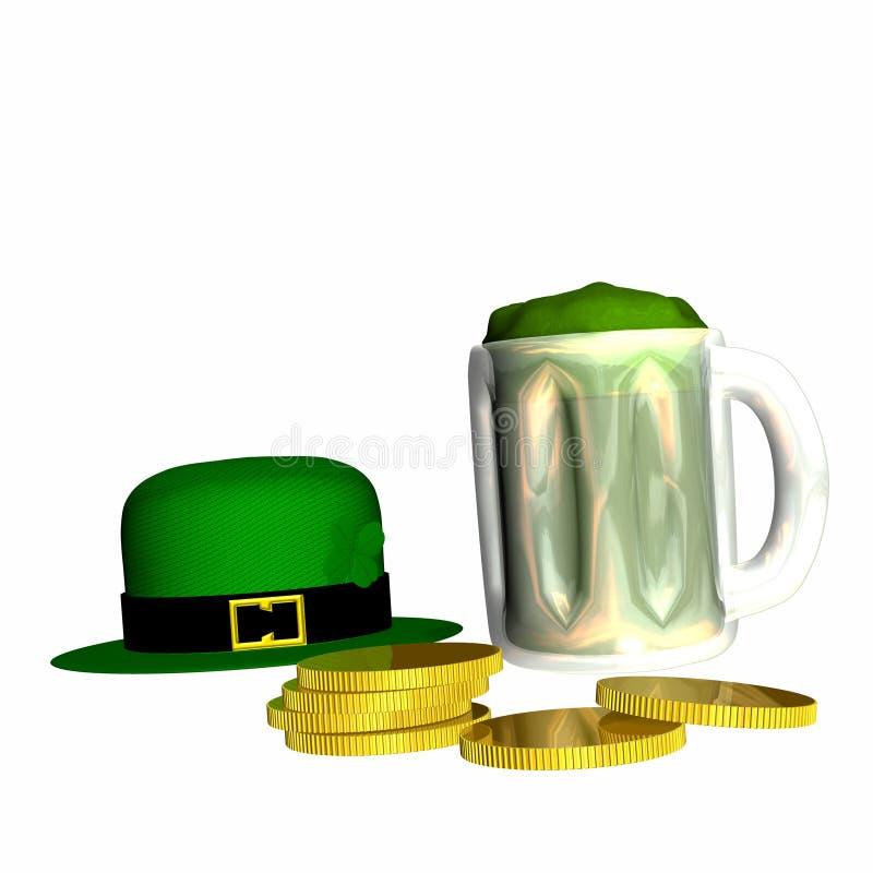 Cerveza y oro verdes stock de ilustración