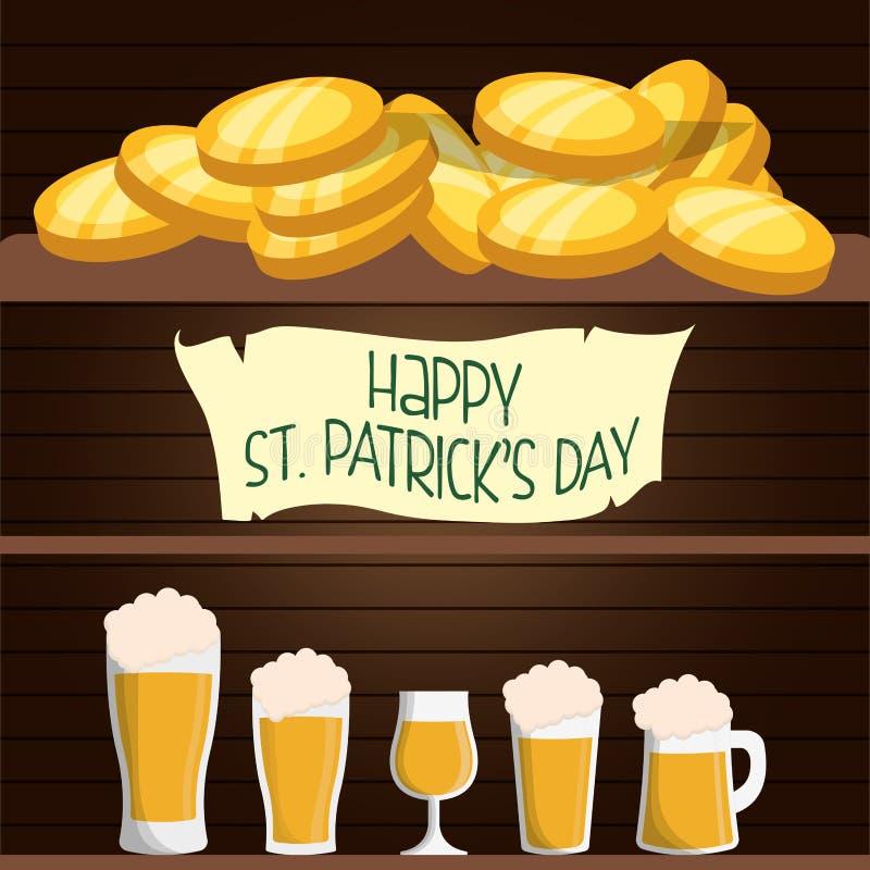 cervezas felices de la tarjeta del día de los patricks del st y fondo de madera de las monedas stock de ilustración