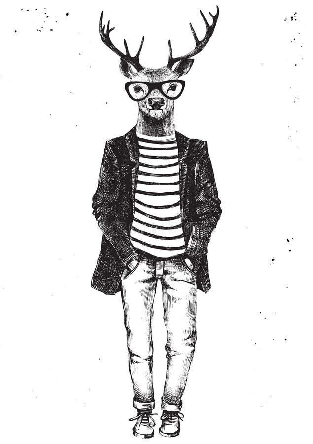 Cervi agghindati disegnati a mano nello stile dei pantaloni a vita bassa royalty illustrazione gratis