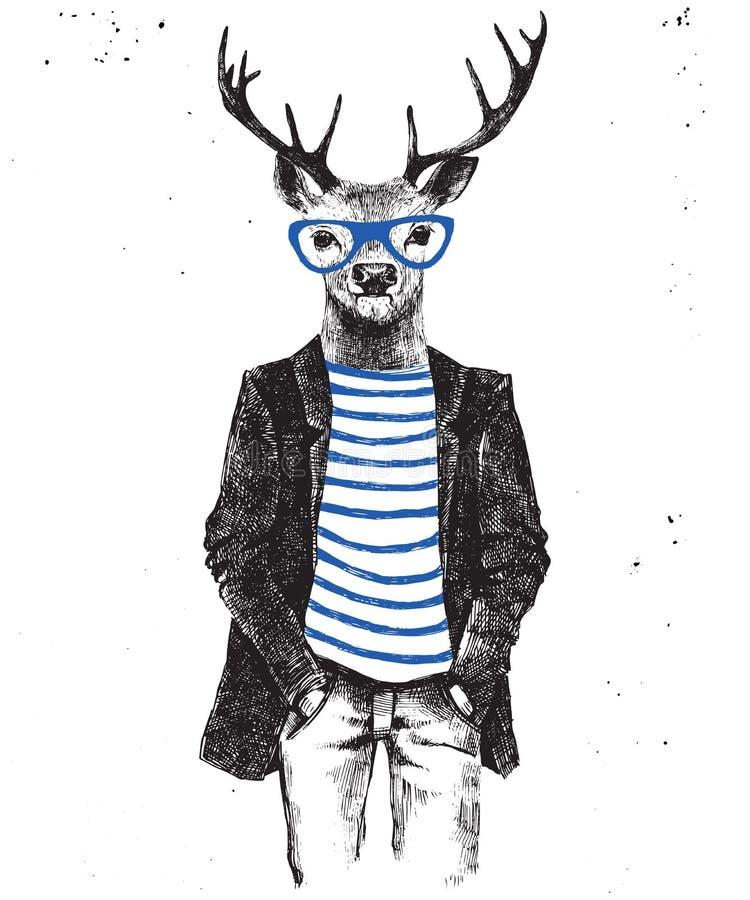 Cervi agghindati disegnati a mano nello stile dei pantaloni a vita bassa illustrazione di stock
