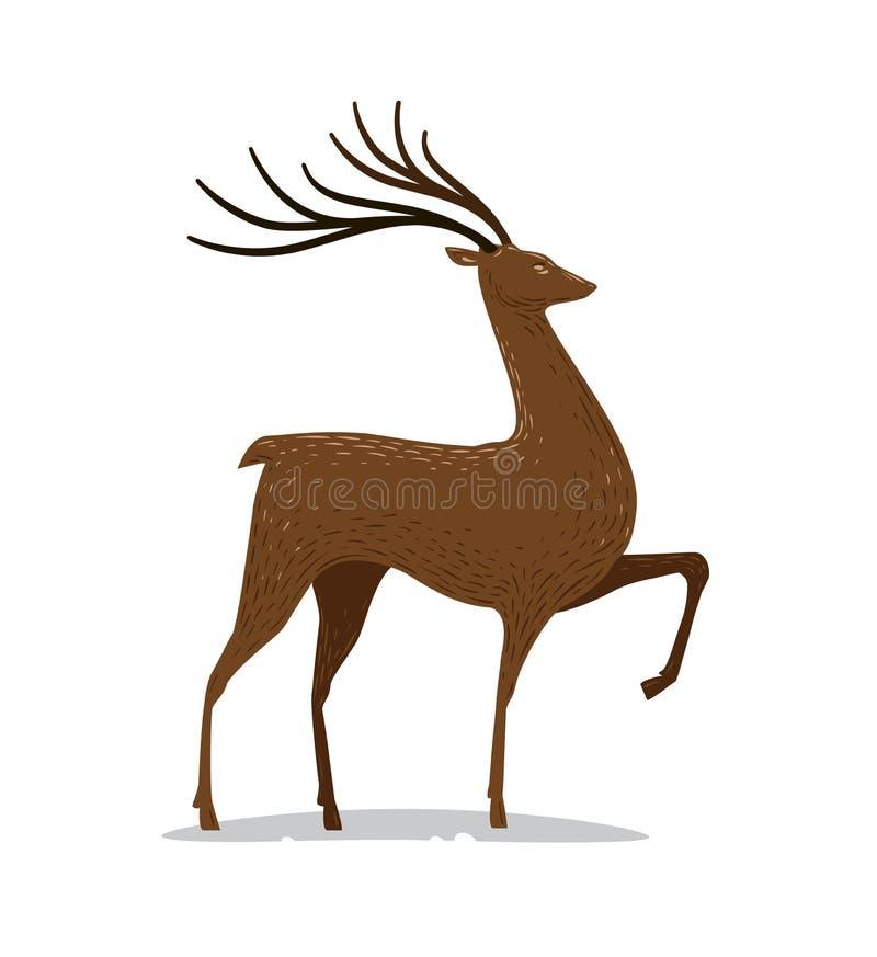 Cervi con i corni Animale decorativo Illustrazione di vettore illustrazione vettoriale