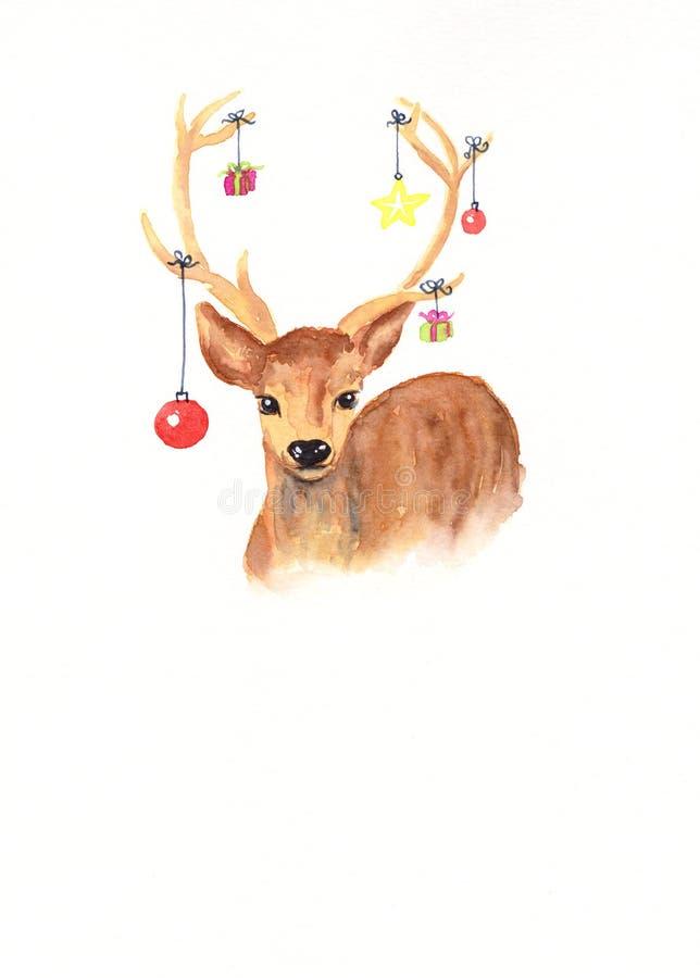 Cervi con la pittura dell'acquerello della decorazione di Natale con lo spazio della copia illustrazione vettoriale