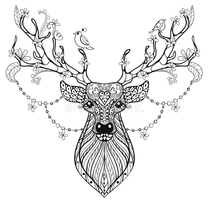 Cervi cornuti magici disegnati a mano di Zentangle per il colo antistress adulto illustrazione vettoriale