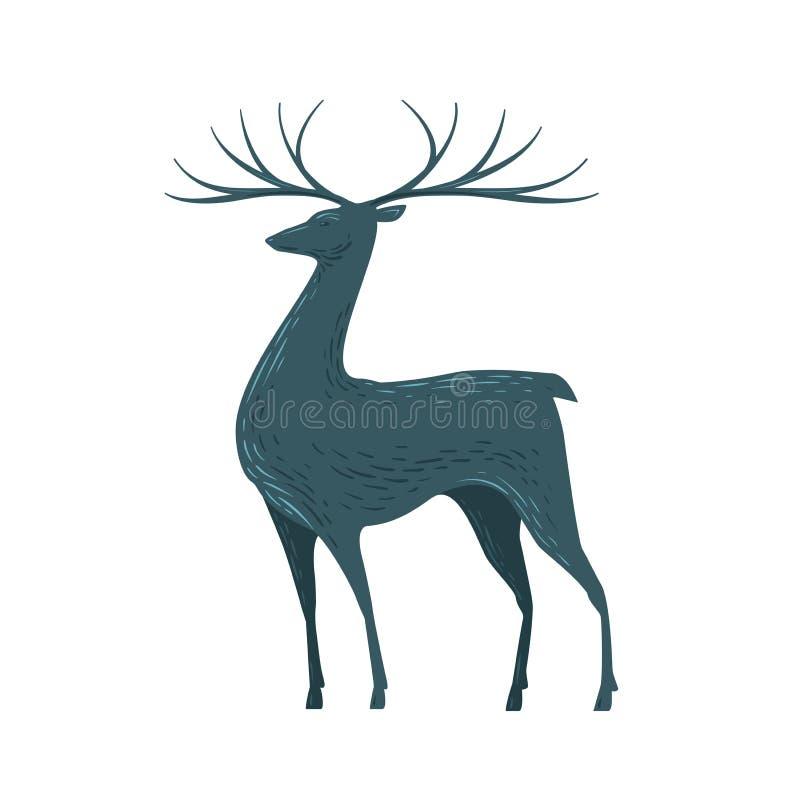 Cervi decorativi con i corni Renna, animale, icona della fauna selvatica o simbolo Illustrazione di vettore illustrazione vettoriale