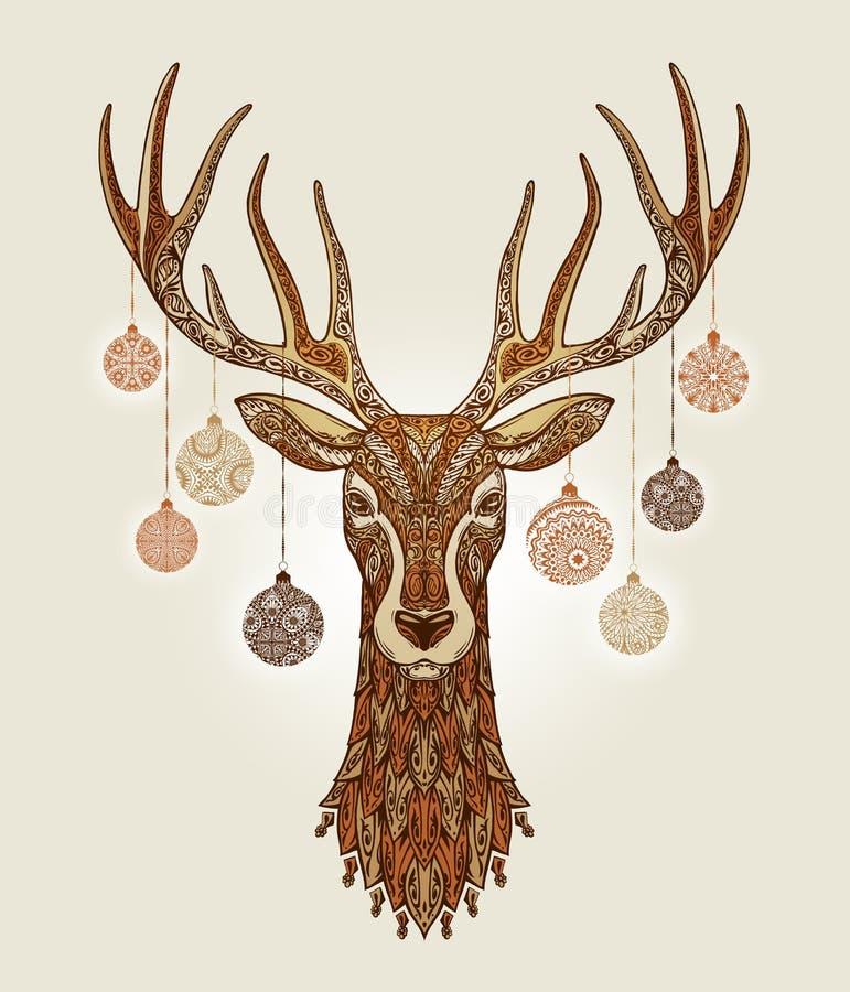 Cervi decorativi di natale con le palle della decorazione e dell'ornamento sui corni royalty illustrazione gratis