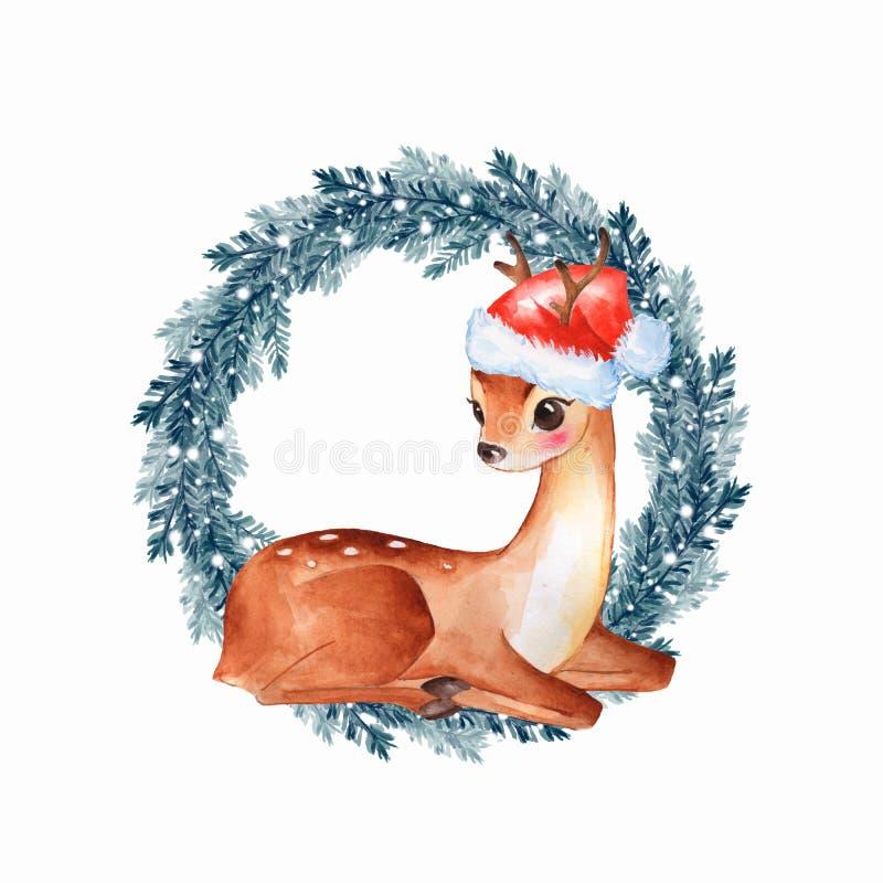 Cervi del bambino Fawn sveglio disegnato a mano royalty illustrazione gratis