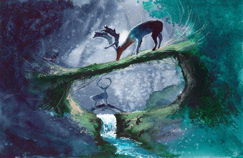 Cervi dell'acquerello in foresta verde illustrazione di stock