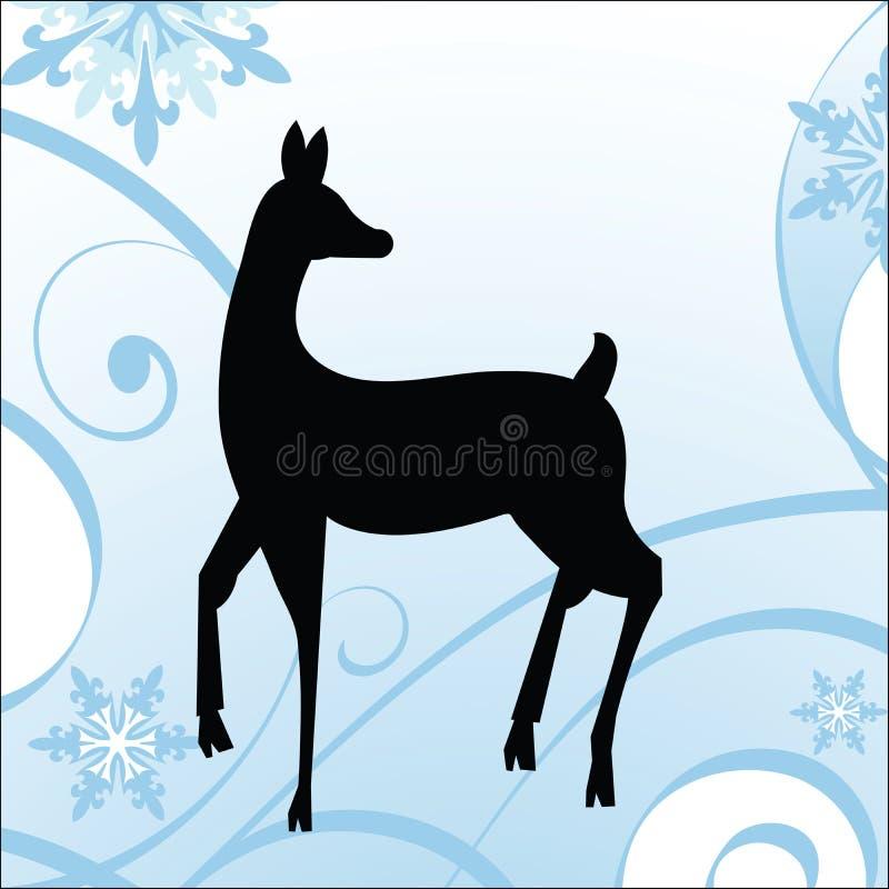 Cervi di inverno - tema di festa illustrazione di stock