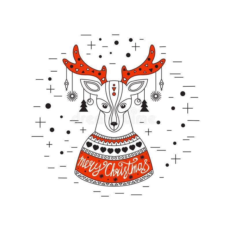 Cervi di natale Buon Natale e buon anno illustrazione vettoriale