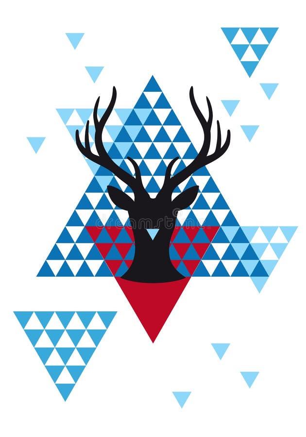 Cervi di Natale con il modello geometrico, vettore illustrazione di stock