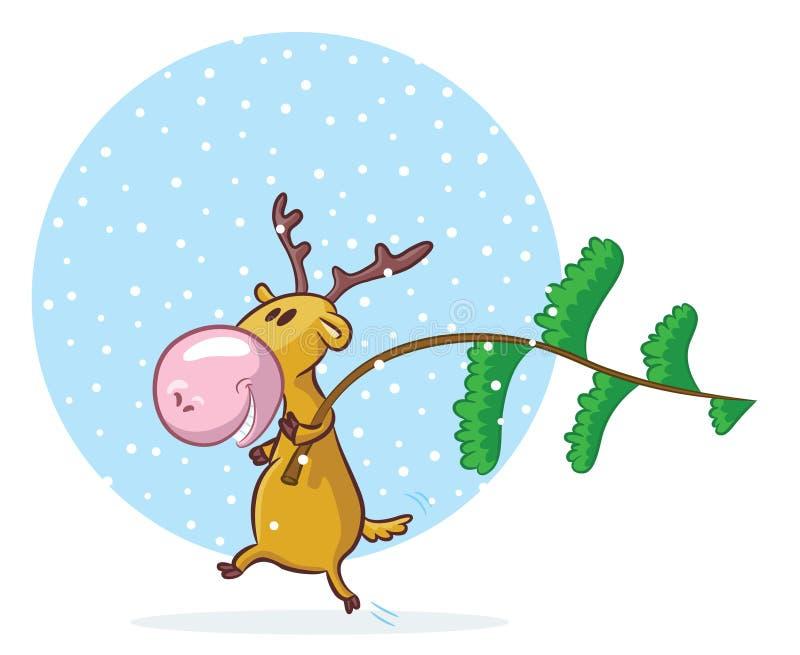 Cervi divertenti con l'pino-albero illustrazione di stock