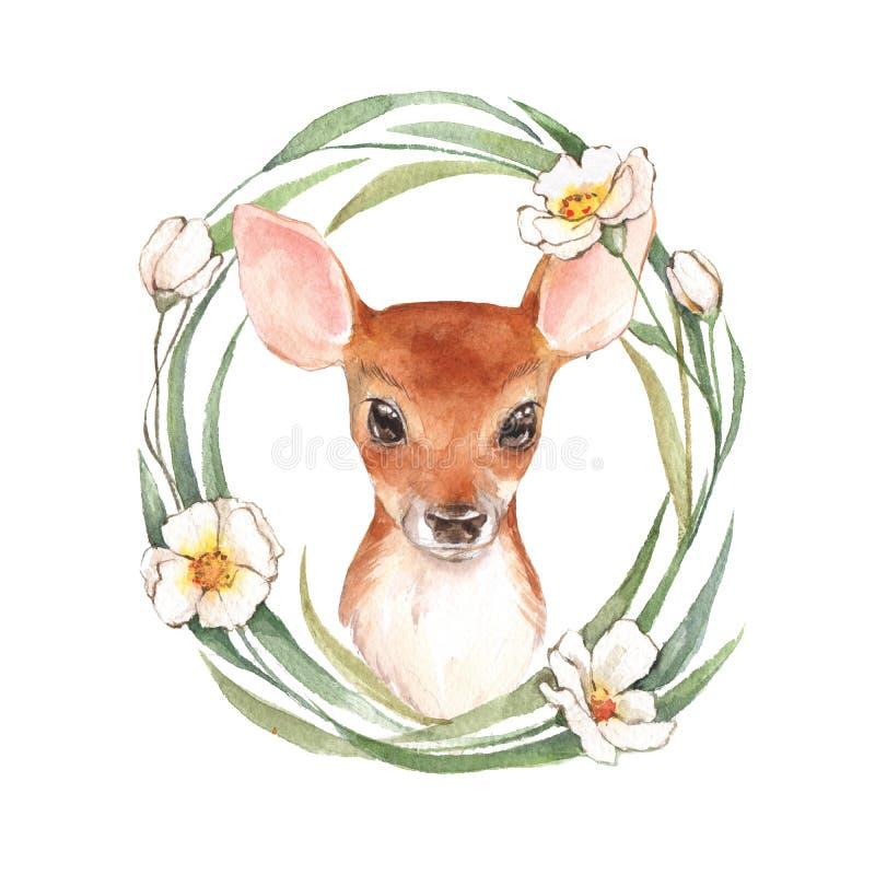 Cervi e fiori del bambino watercolor illustrazione di stock