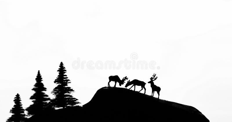 Cervi e foresta fotografia stock
