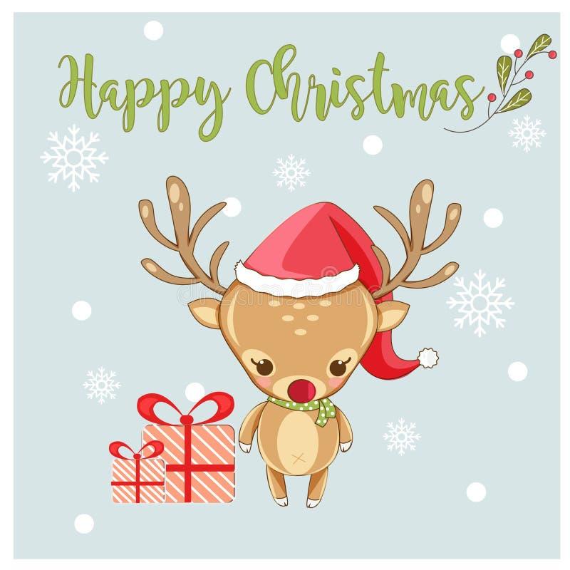 Cervi e regalo svegli felici per il festival di Natale illustrazione di stock