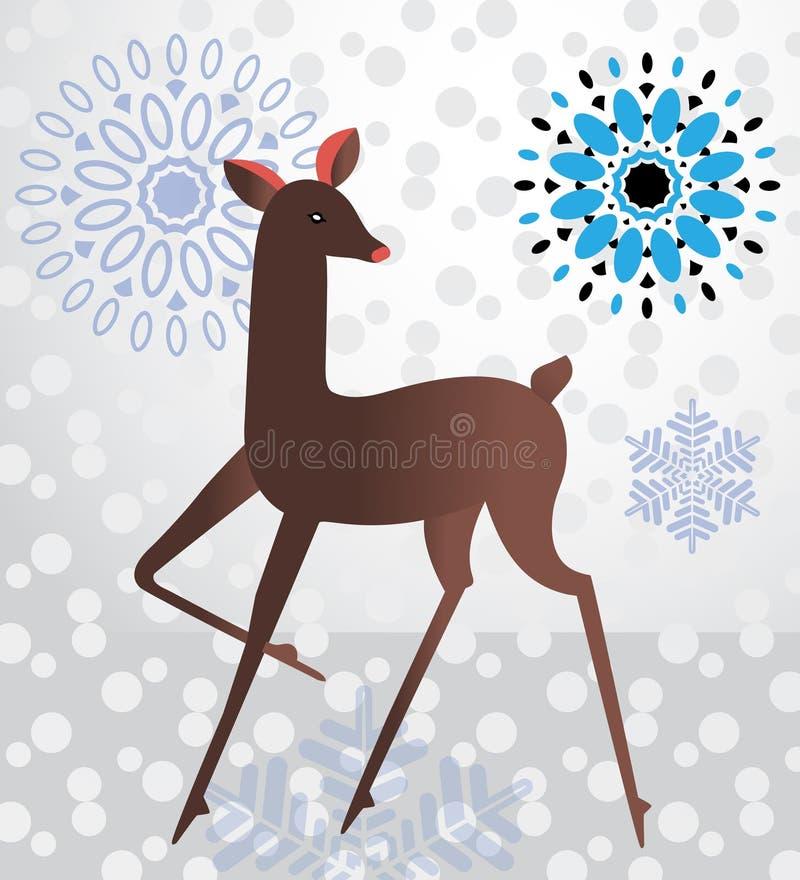 Cervi graziosi nella neve illustrazione vettoriale