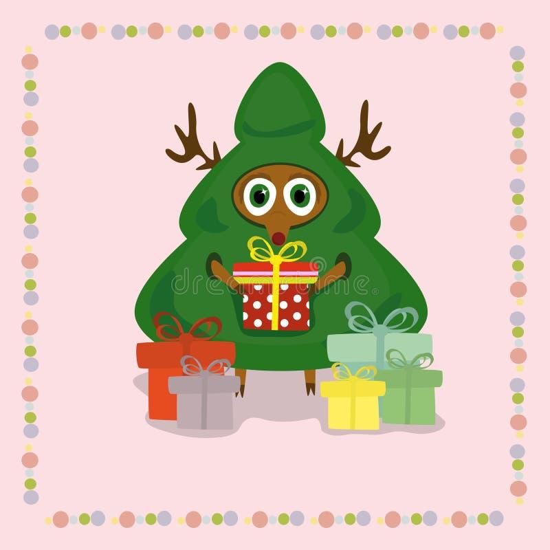 Cervi nel vestito dell'albero di Natale illustrazione di stock