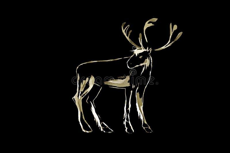 Cervi Cervi selvaggi Stampa d'annata della maglietta di tipografia dell'illustrazione dell'acquerello, isilated sul nero illustrazione di stock