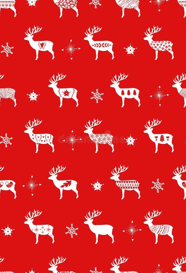 Cervi semplici rossi di Natale per stile nordico scandinavo di celebrazioni di festa Natale, decorazione del nuovo anno seamless illustrazione vettoriale