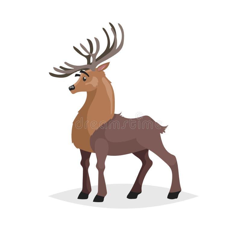 Cervi svegli Carattere animale della foresta comica di stile del fumetto Mascotte maschio della renna Zoo e animale selvatico royalty illustrazione gratis