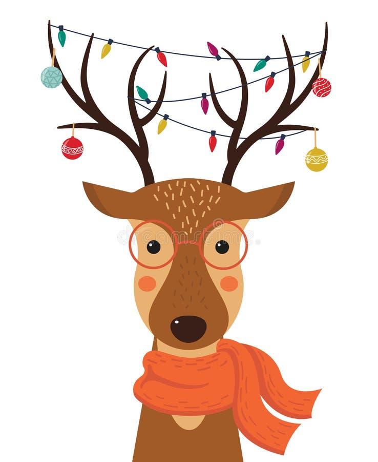 Cervi svegli del fumetto con i giocattoli di Natale, le ghirlande sui corni e la sciarpa illustrazione di stock