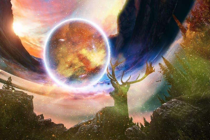 Cervi vaghi artistici dell'estratto che esaminano un altro mondo in una certa altra dimensione illustrazione di stock