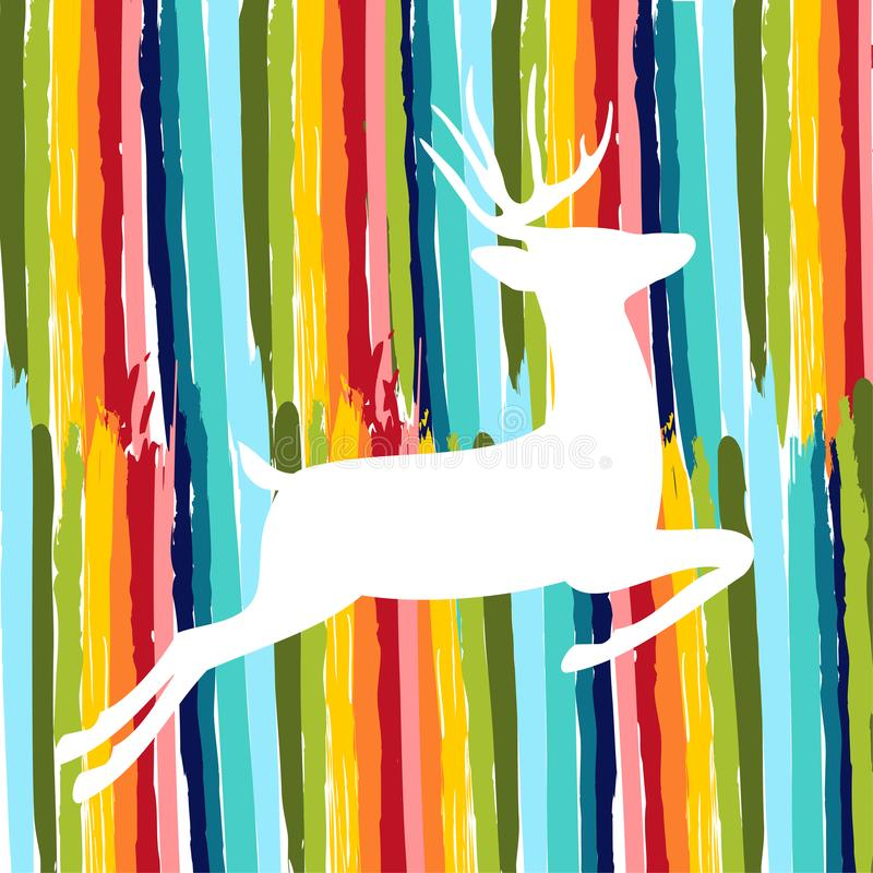 Cervi variopinti fatti della spazzola disegnata a mano di colore royalty illustrazione gratis