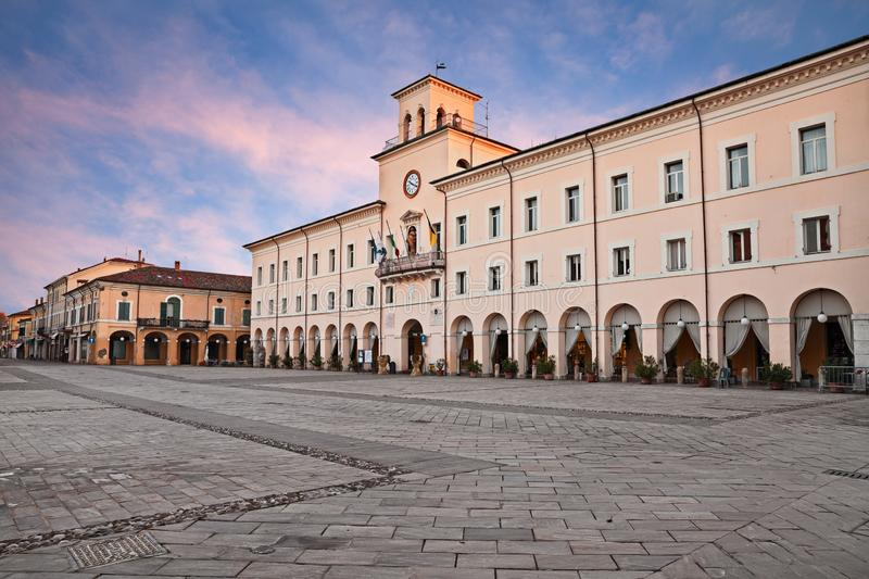 Cervia, Ravenna, Emilia-Romagna, Italy: the ancient city hall in the main square of the town on the Adriatic sea coast. Cervia, Ravenna, Emilia-Romagna, Italy stock image