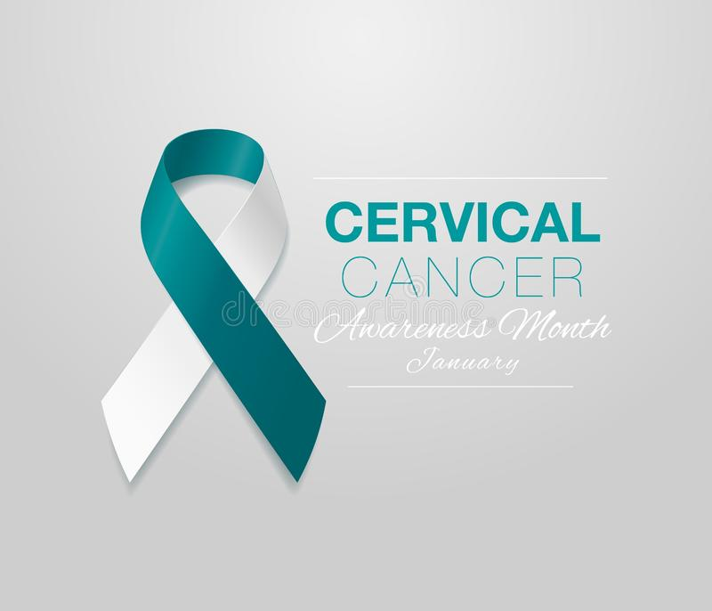 Cervical Cancer Awareness Calligraphy Poster Design. Realistic Teal and White Ribbon. January is Cancer Awareness Month royalty free illustration