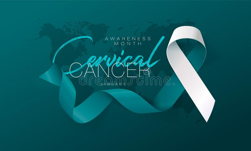 Cervical Cancer Awareness Calligraphy Poster Design. Realistic Teal and White Ribbon. January is Cancer Awareness Month vector illustration