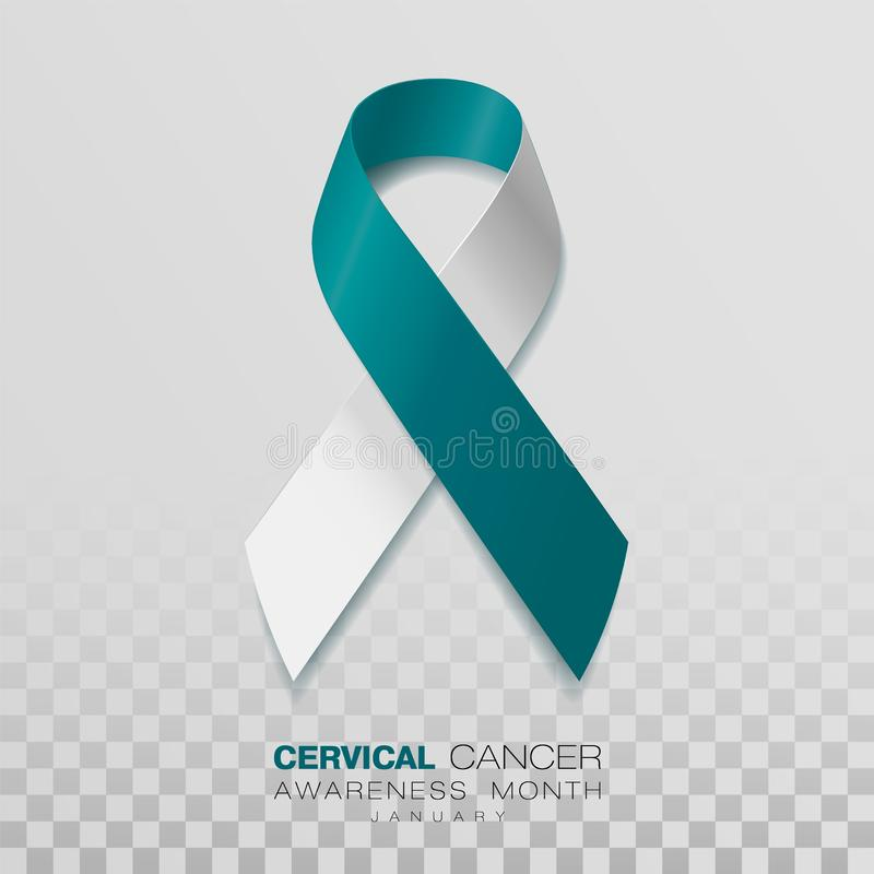 Cervical Cancer Awareness Month. Teal And White Ribbon Isolated On Transparent Background. Vector Design Template For. Poster vector illustration