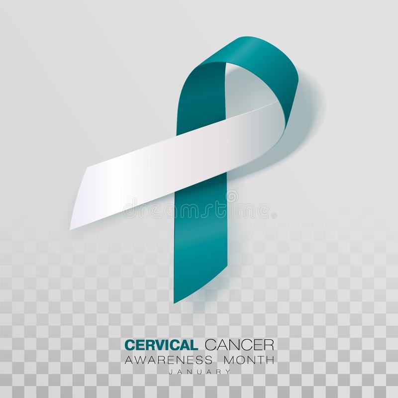Cervical Cancer Awareness Month. Teal And White Ribbon Isolated On Transparent Background. Vector Design Template For Poster. royalty free illustration
