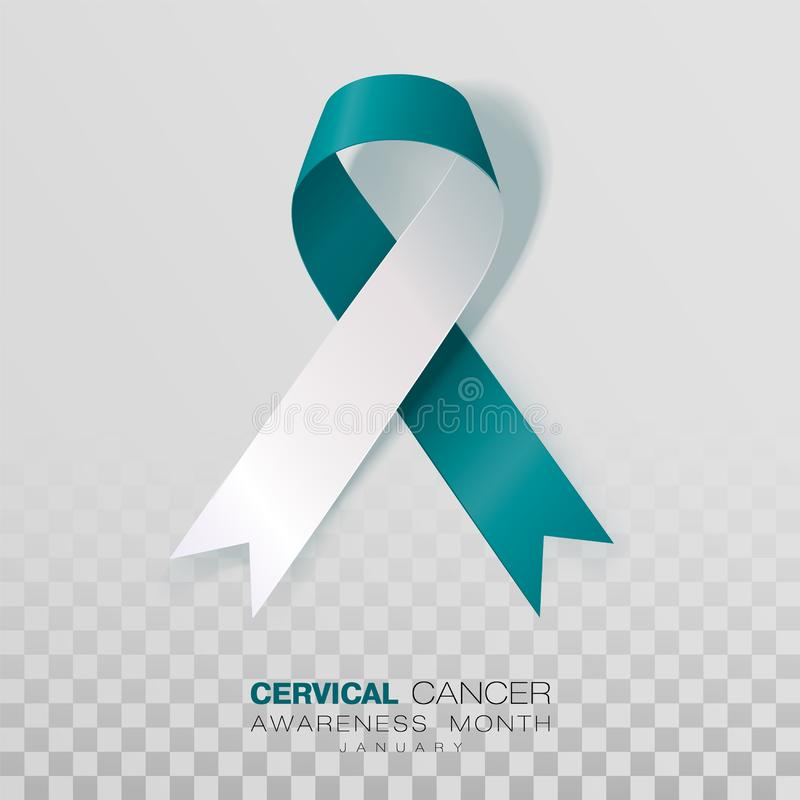 Cervical Cancer Awareness Month. Teal And White Ribbon Isolated On Transparent Background. Vector Design Template For. Poster royalty free illustration