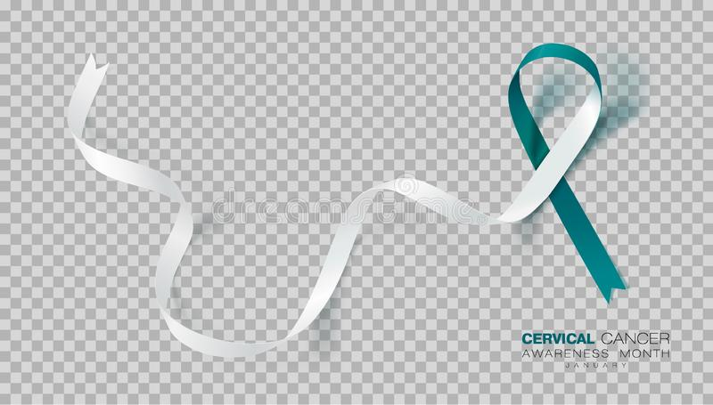 Cervical Cancer Awareness Month. Teal And White Ribbon Isolated On Transparent Background. Vector Design Template For stock illustration