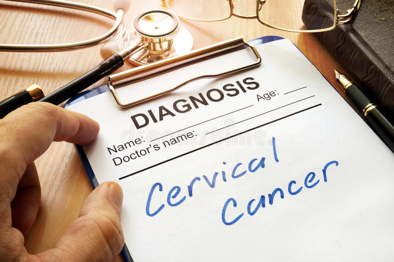 Cervical cancer. A diagnostic form with words Cervical cancer stock images