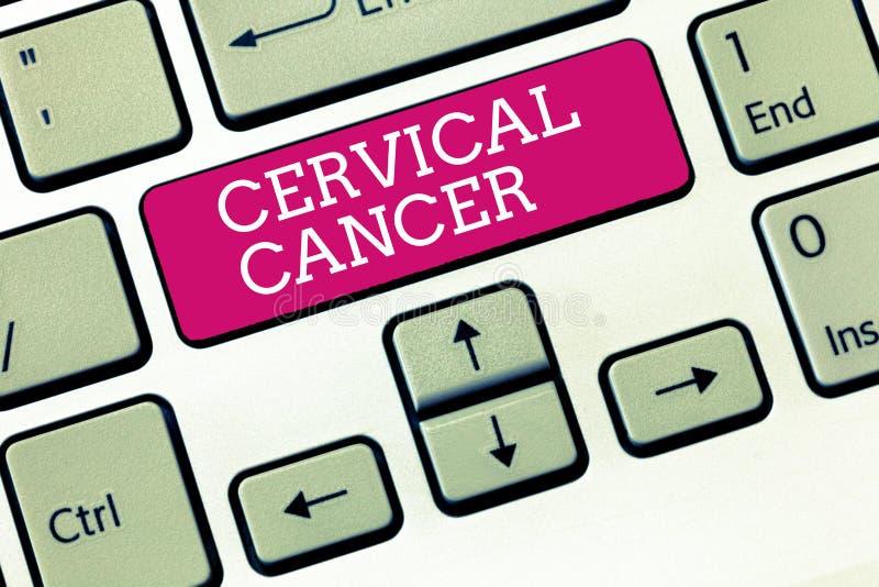 Cervikal cancer för handskrifttext Begreppsbetydelsen uppstår, när cellerna av halsen växer onormalt arkivbilder