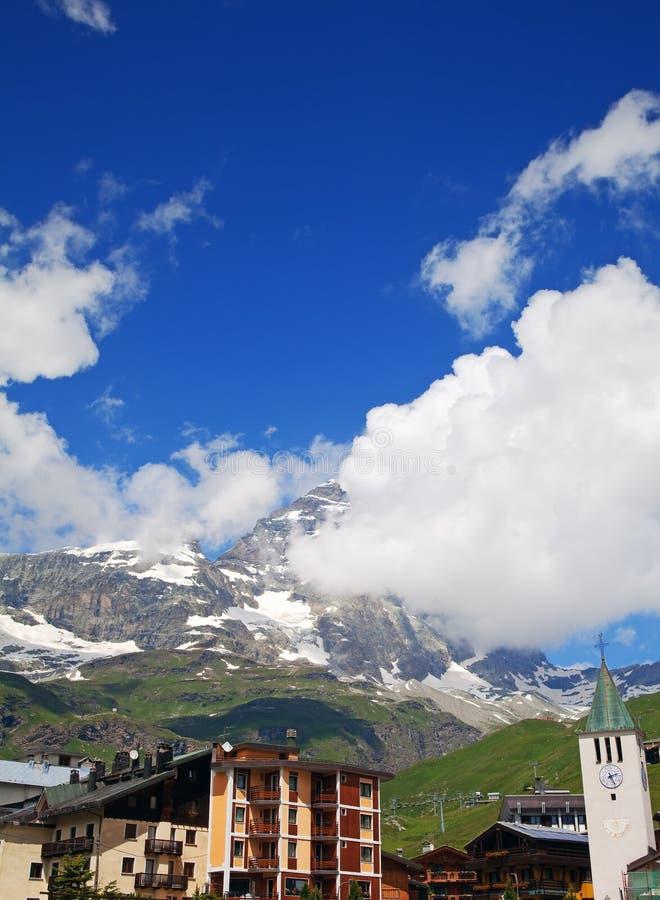 Cervinia,瓦尔d'Aosta,意大利 免版税库存照片