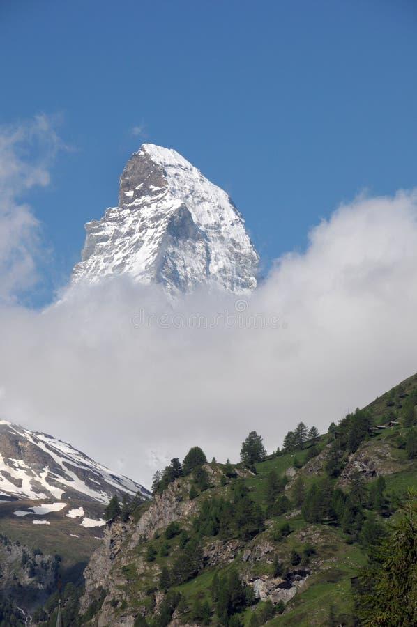 Cervino sobre abetos cerca de Zermatt imágenes de archivo libres de regalías