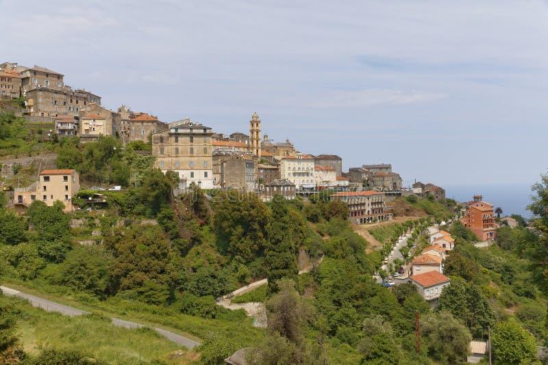 Cervione, Castagnicca,肋前缘Verde,北可西嘉岛,法国村庄 免版税图库摄影