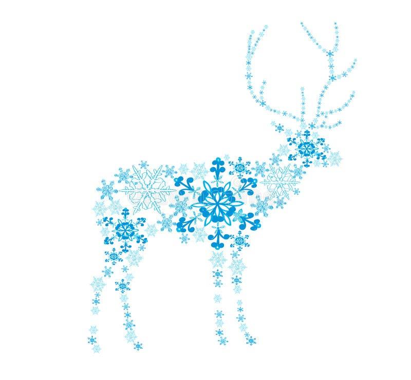 Cervos abstratos dos flocos de neve ilustração royalty free