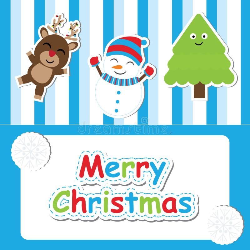 Cervos bonitos, boneco de neve e de árvore do Xmas desenhos animados no fundo azul do stripesd para o cartão, o papel de parede,  ilustração do vetor