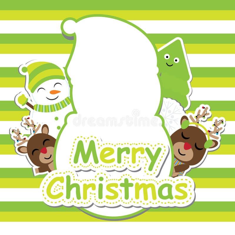 Cervos bonitos, boneco de neve e de árvore do Xmas desenhos animados no fundo listrado verde para o cartão do Xmas, papel de pare ilustração stock