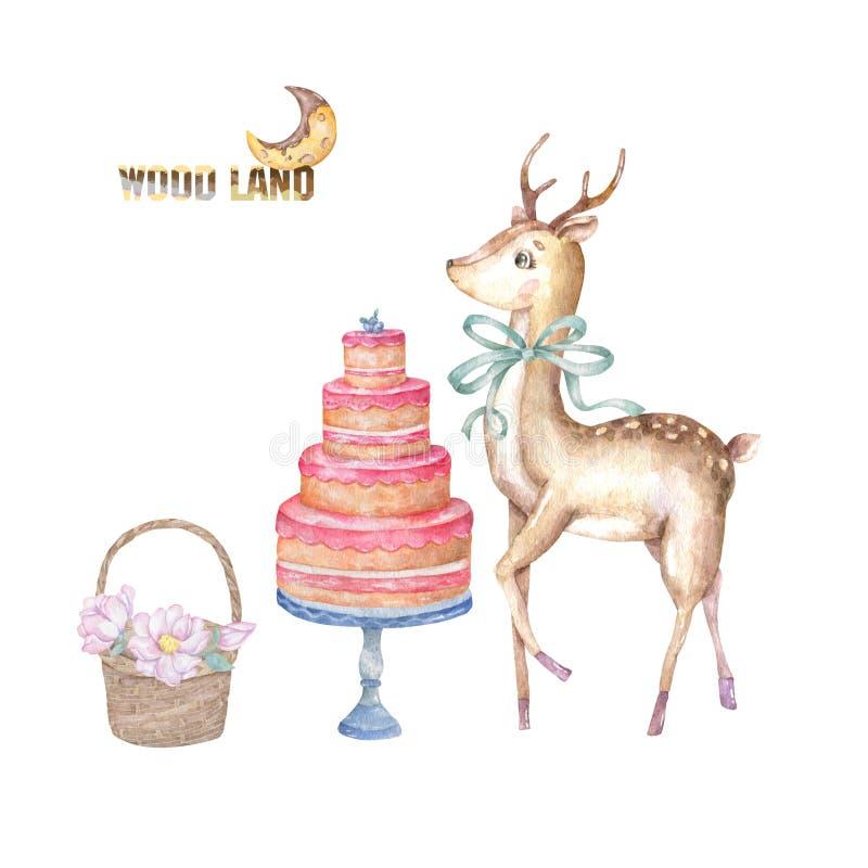 Cervos bonitos da aquarela com curva verde da beleza e o bolo saboroso, cesta de madeira de flores cor-de-rosa, mão tirada para a ilustração do vetor