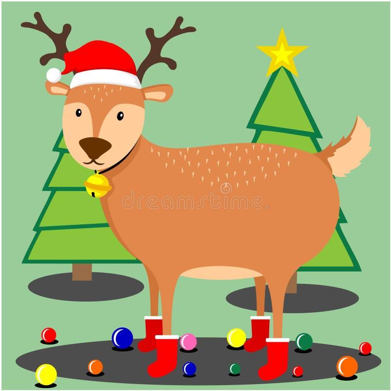 Cervos bonitos do Natal ilustração do vetor