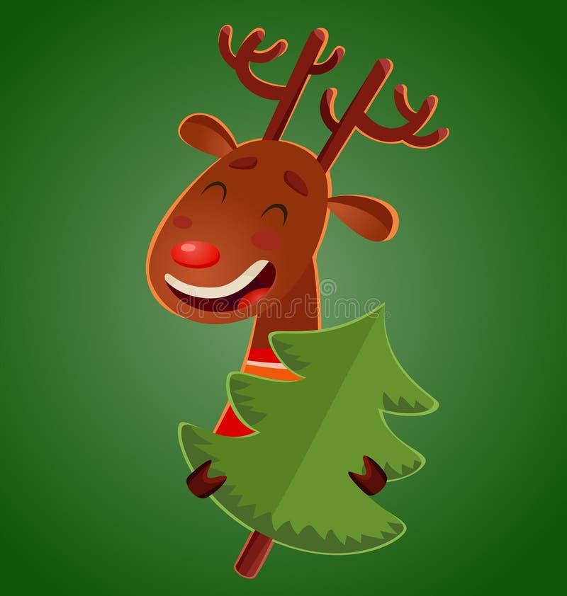 Cervos bonitos do Natal dos desenhos animados que guardam uma árvore de Natal Cervos alegres do vetor ilustração royalty free