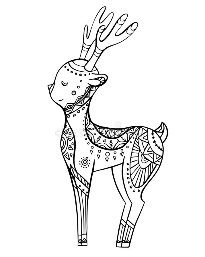 Cervos bonitos dos desenhos animados com teste padrão do boho Ilustração linear Elemento da garatuja do vetor ilustração do vetor