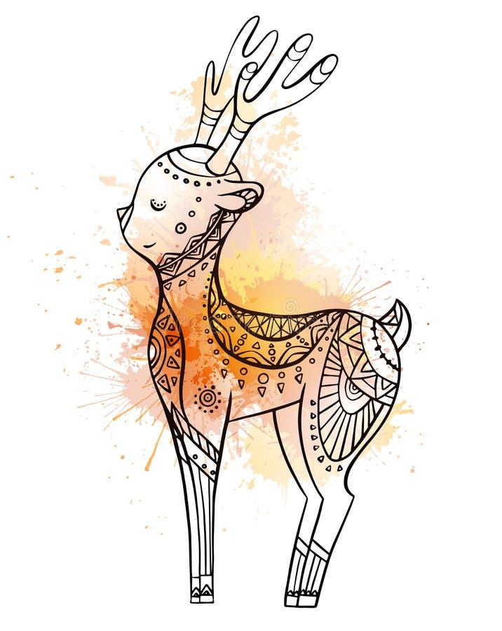 Cervos bonitos dos desenhos animados com teste padrão do boho com splushes da aquarela Ilustração linear Elemento da garatuja do  ilustração stock