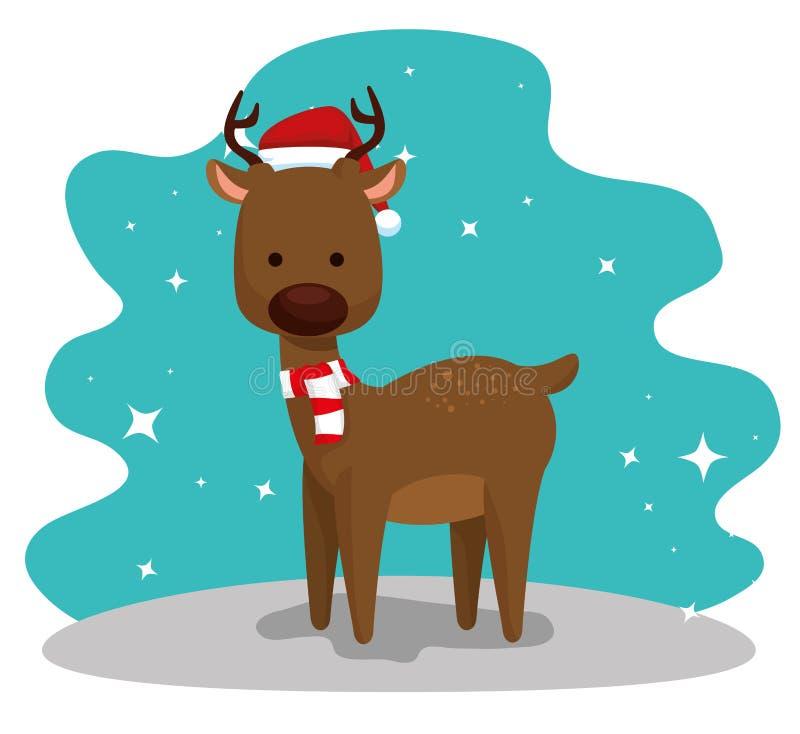 Cervos com chapéu e lenço ao Feliz Natal ilustração do vetor