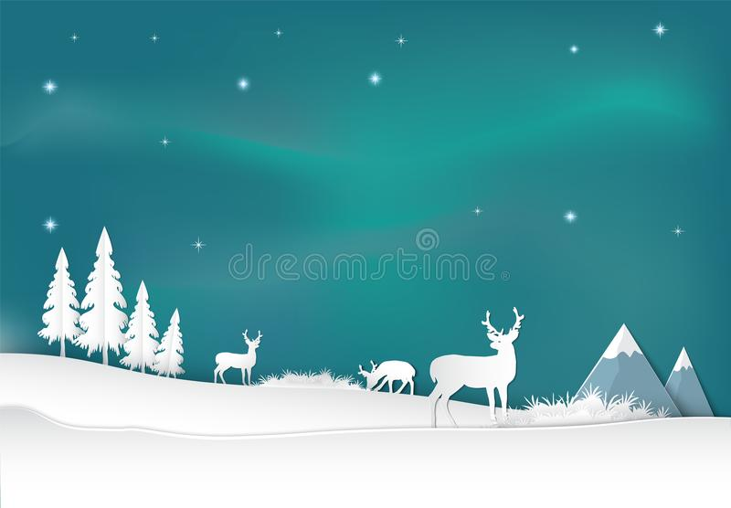Cervos com fundo da Aurora Estilo IL da arte do papel da estação do Natal ilustração royalty free